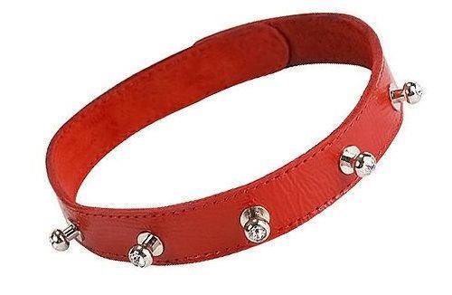 Красный кожаный ошейник с фурнитурой со стразами