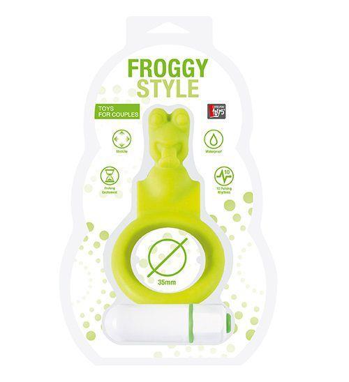 Зелёное эрекционное кольцо с вибрацией NEON FROGGY STYLE
