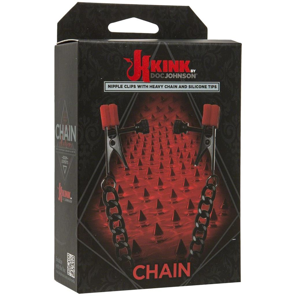 Зажимы для сосков Kink Nipple Clips with Heavy Chain and Silicone Tips