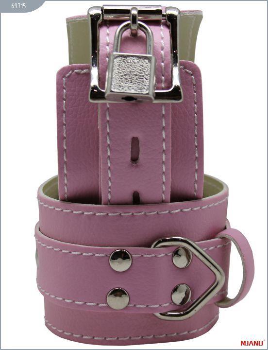Розовые кожаные наручники Mjanu с фиксацией
