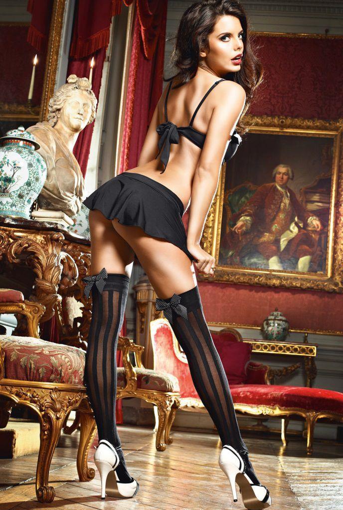 Высокие чёрные чулки горничной Laundry French Maid в полоску