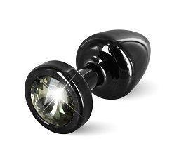Чёрная пробка с чёрным кристаллом ANNI round black T1 Black Diamond - 6 см.
