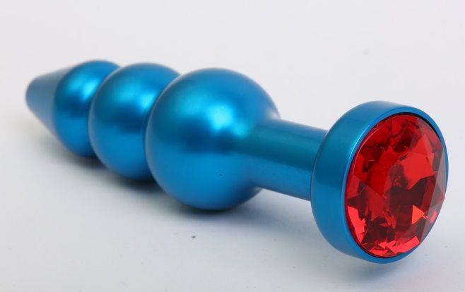Синяя фигурная анальная пробка с красным кристаллом (11,2 см)