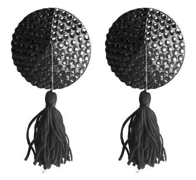 Чёрные круглые пестисы Nipple Tassels Round