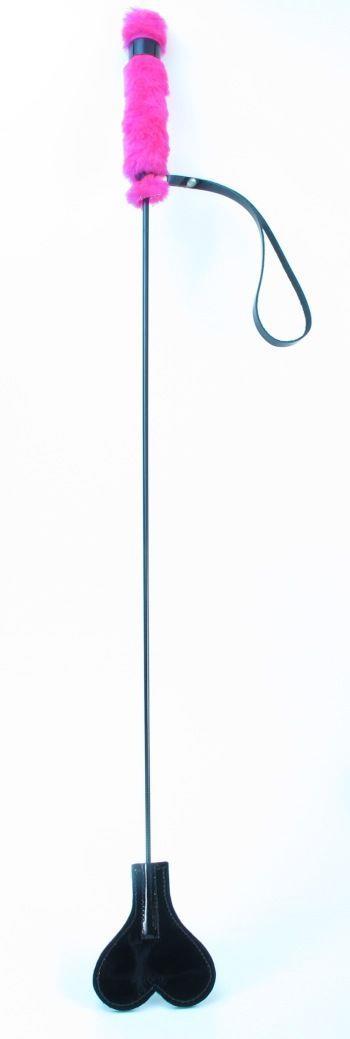 Лаковый стек с розовой меховой ручкой (64 см)