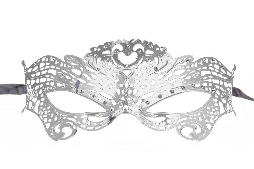 Серебристая металлическая маска Butterfly Masquerade Mask