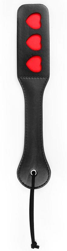 Черная шлепалка NOTABU с красными сердечками - 32 см.