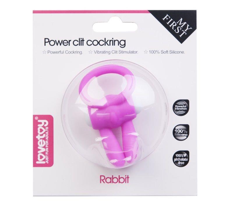 Розовое виброколечко для пениса Power Rabbit Clit Cockring