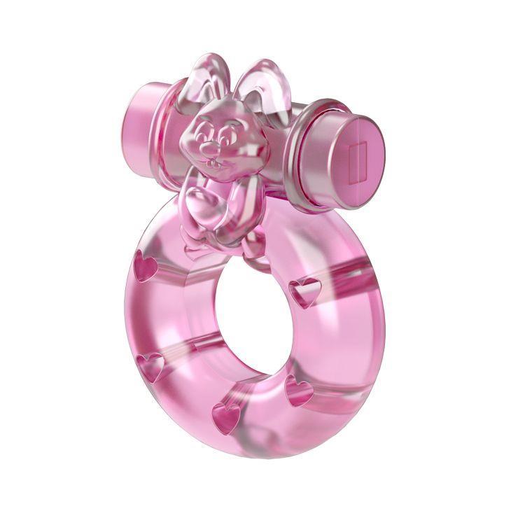 Розовое эрекционное кольцо Ring с вибрацией