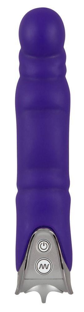 Фиолетовый вибратор с шаровидной головкой Glansy - 18 см.