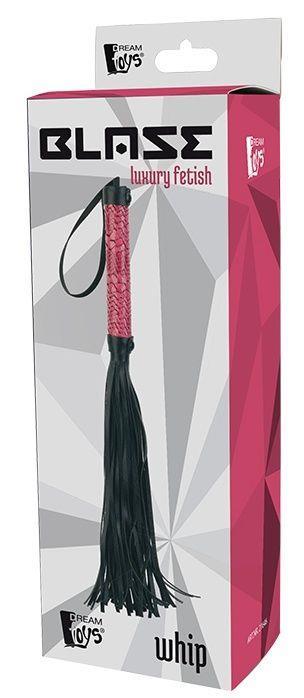Черная мини-плеть WHIP с розовой ручкой - 39 см.
