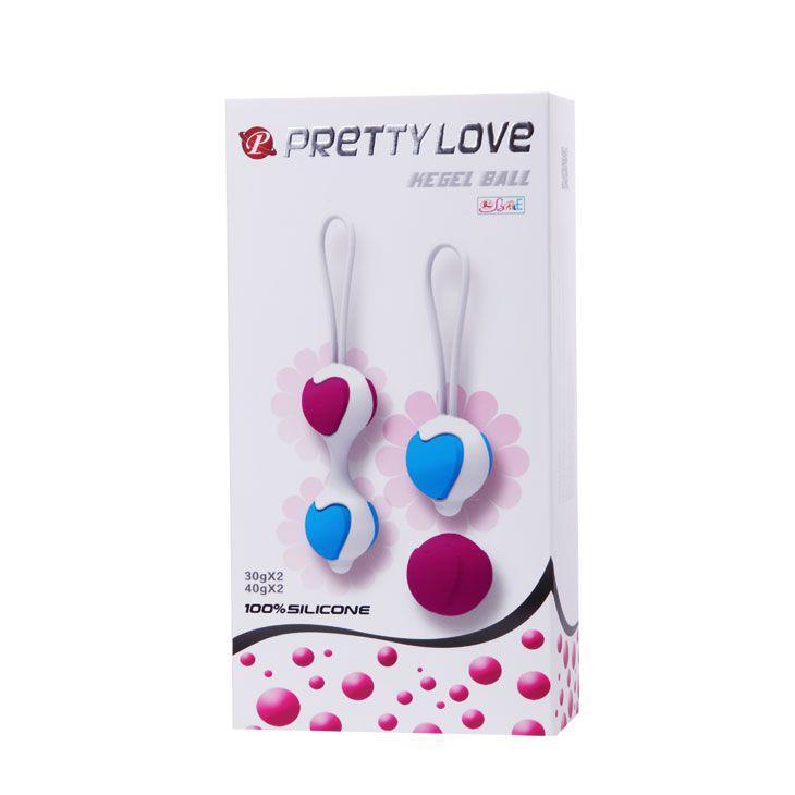 Набор из фиолетово-голубых вагинальных шариков с сердечками