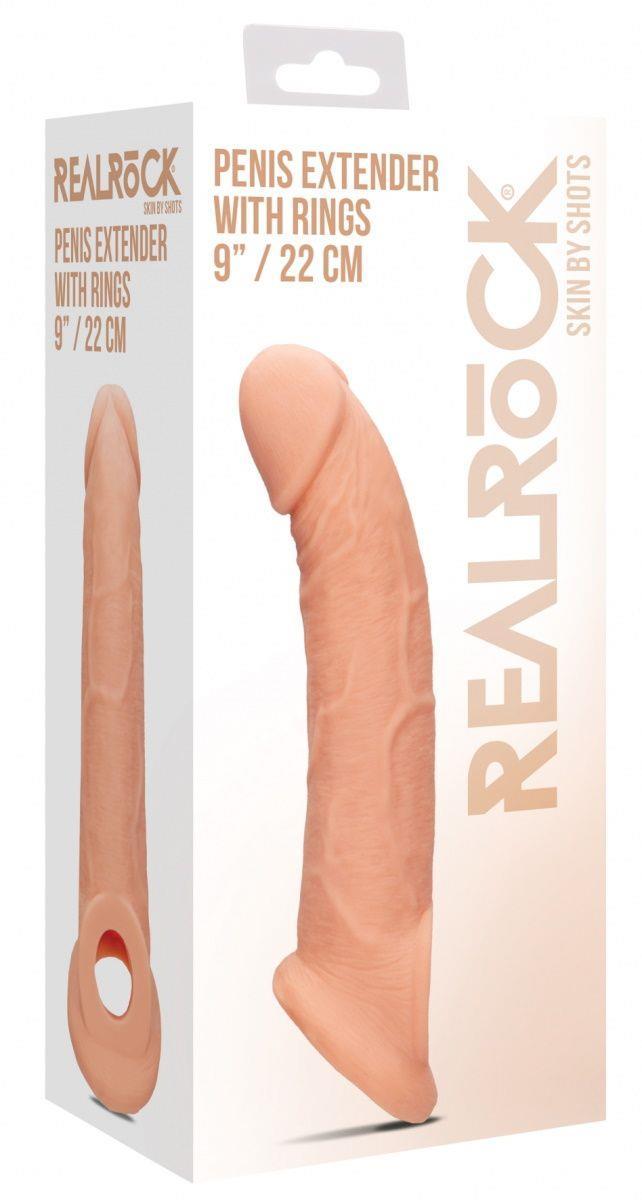 Телесная насадка с кольцом Penis Extender with Rings - 22 см.