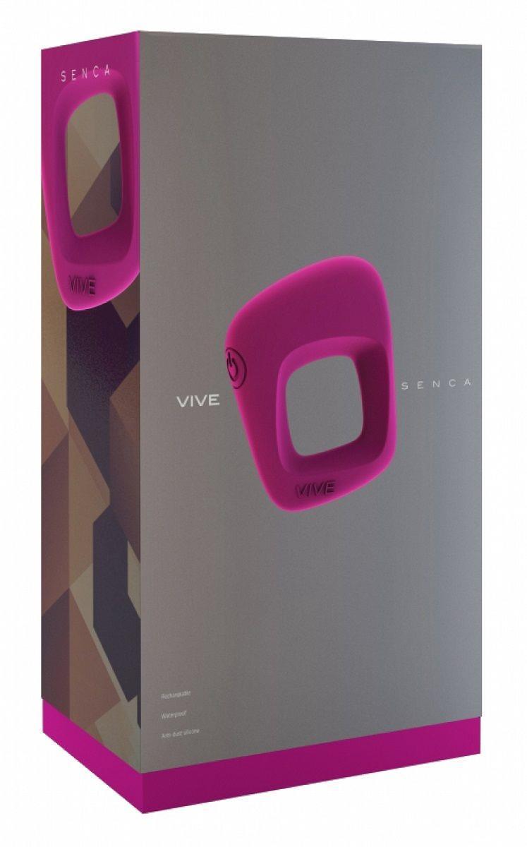 Розовое эрекционное вибрирующее кольцо Senca