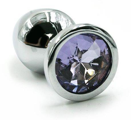 Серебристая алюминиевая анальная пробка с светло-фиолетовым кристаллом (7 см)