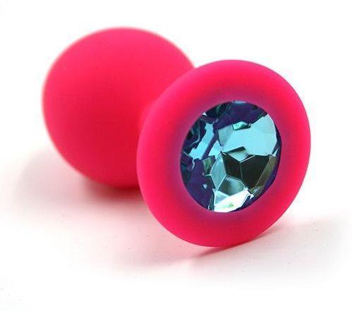 Розовая силиконовая анальная пробка с голубым кристаллом (7 см)