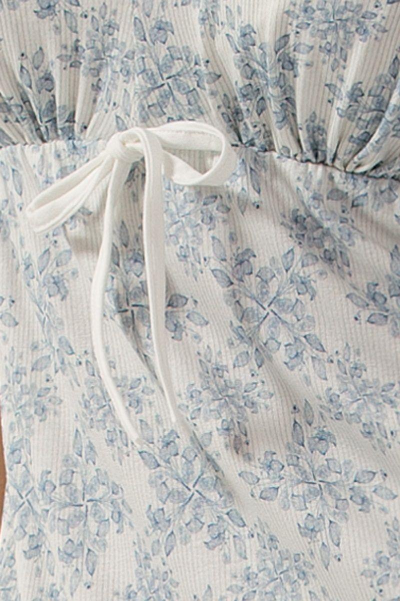 Ночная сорочка в рубчик с цветочным узором