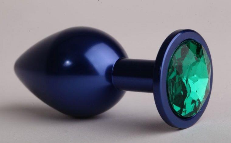 Синяя анальная пробка с зелёным стразом (7,6 см)