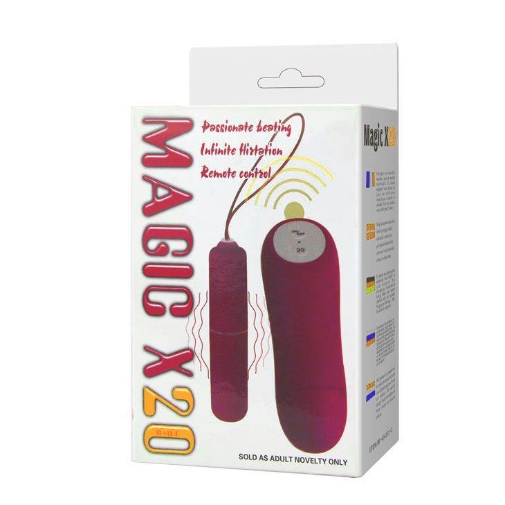 Розовая вибропуля Magic X20 с дистанционным пультом управления 20 режимами вибрации