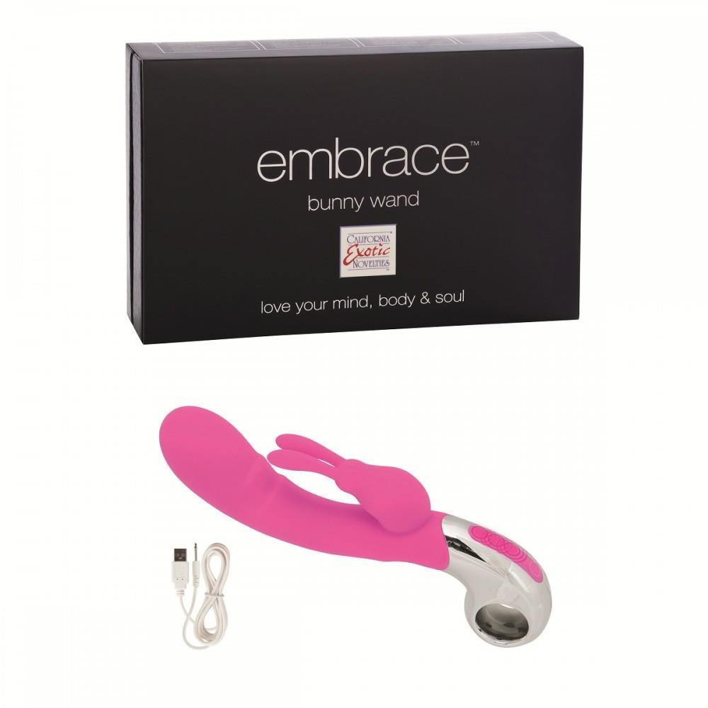 Розовый вибратор EMBRACE BUNNY WAND PINK - 12,75 см.