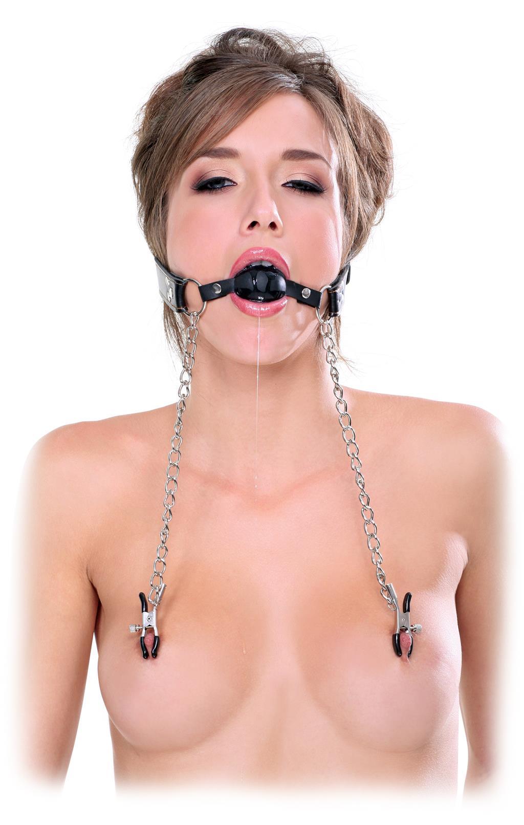 Кляп с цепью и зажимами для груди Deluxe Ball Gag and Nipple Clamps