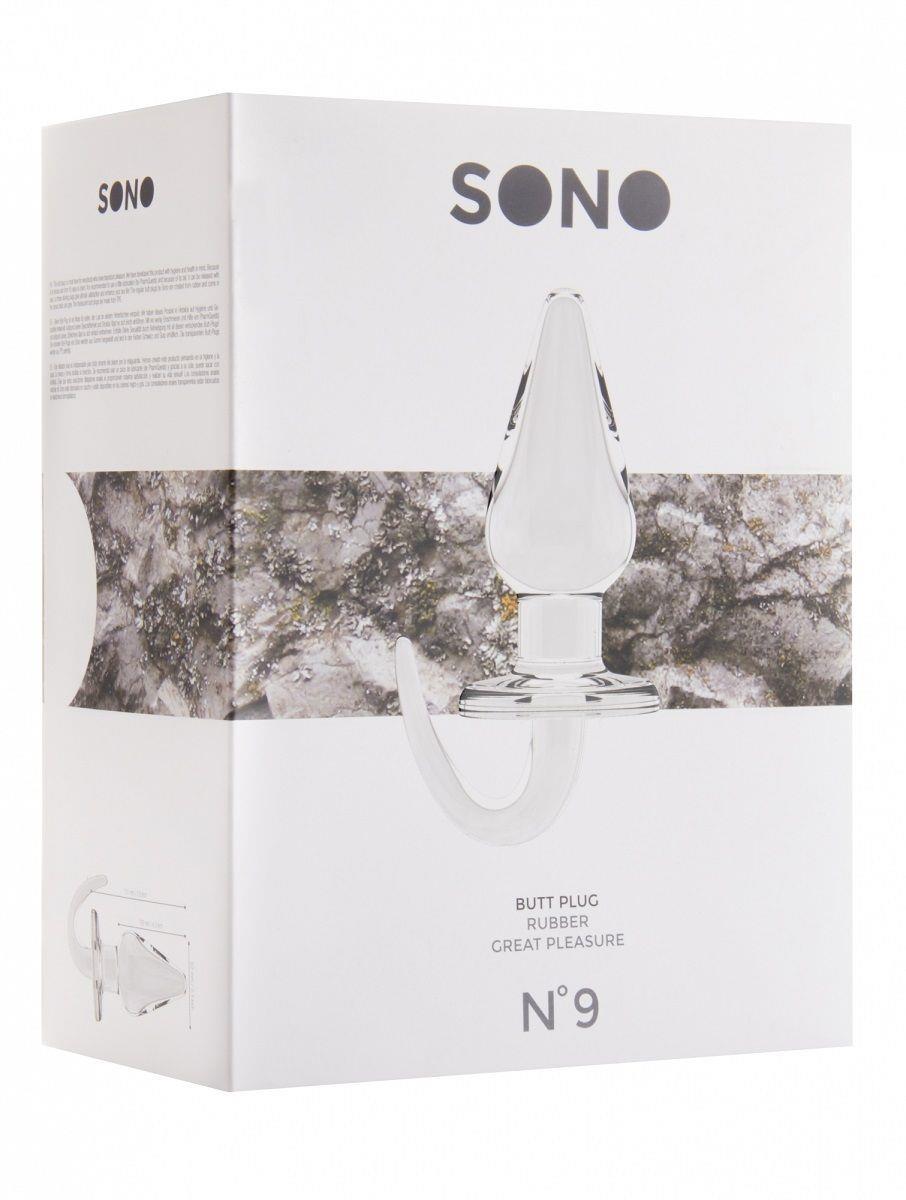 Прозрачная анальная пробка SONO №9 с гибкой ручкой