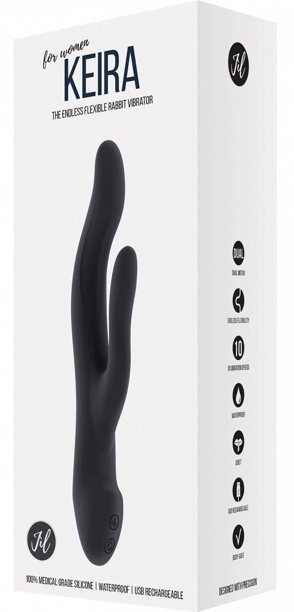Чёрный вибратор Keira с клиторальным отростком (21,3 см)