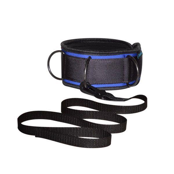 Сине-черный неопреновый ошейник с поводком