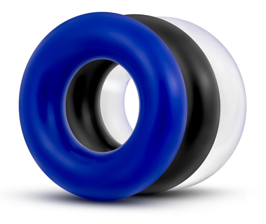 Набор Stay Hard Donut Rings из 3 разноцветных эрекционных колец