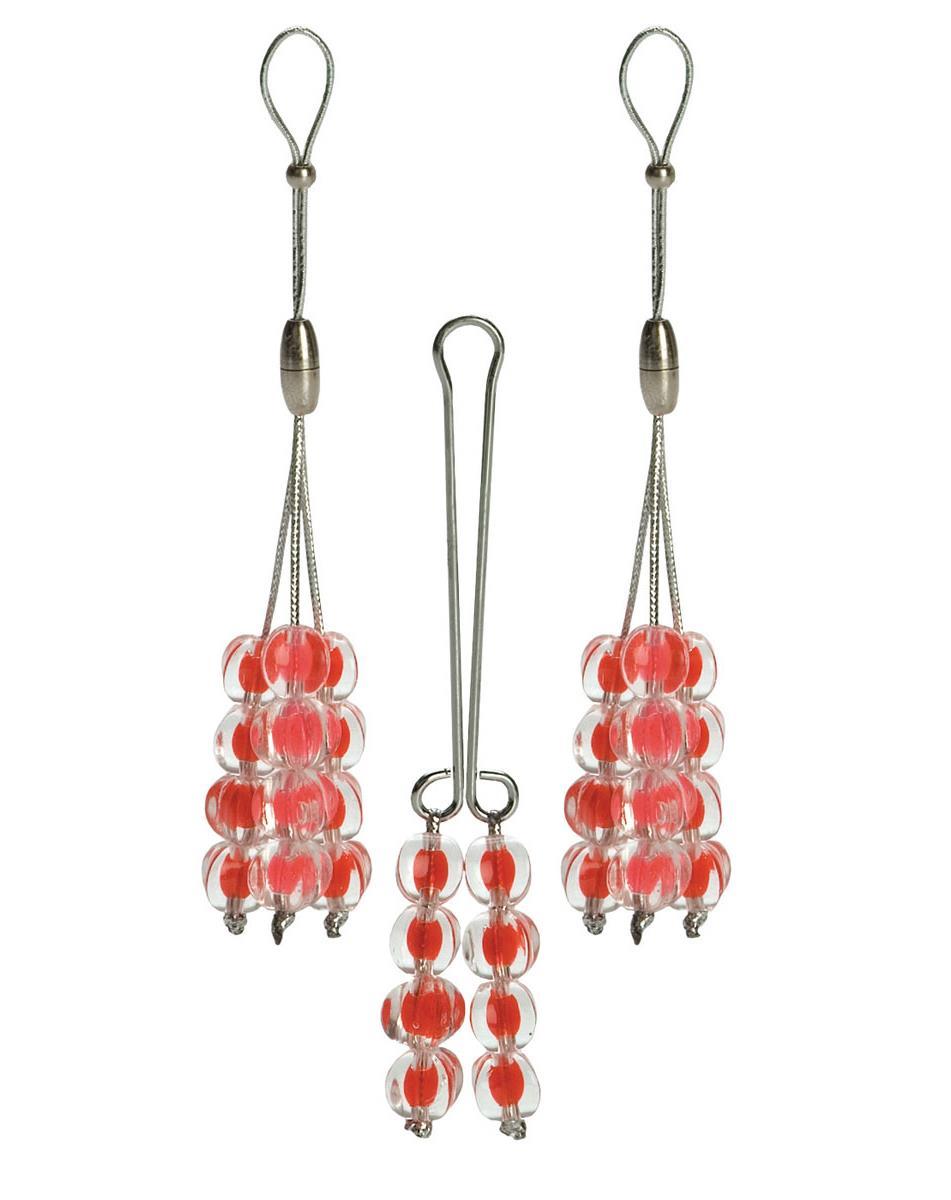 Красный набор украшений: зажим на половые губы и 2 лассо на соски