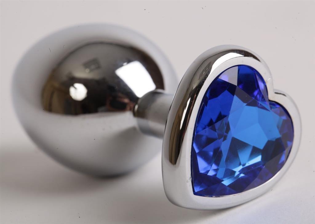 Серебристая анальная пробка с синим кристаллом-сердцем (9 см)