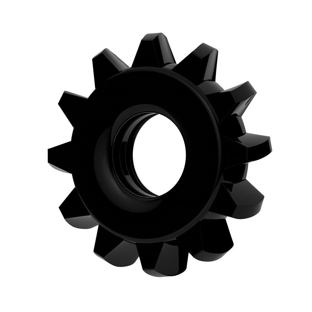 Чёрное эрекционное кольцо для пениса Power Plus
