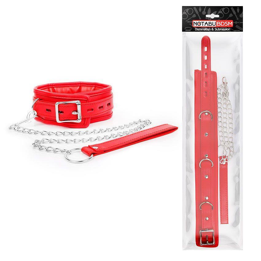 Красный ошейник на металлическом поводке с ручкой-петлей