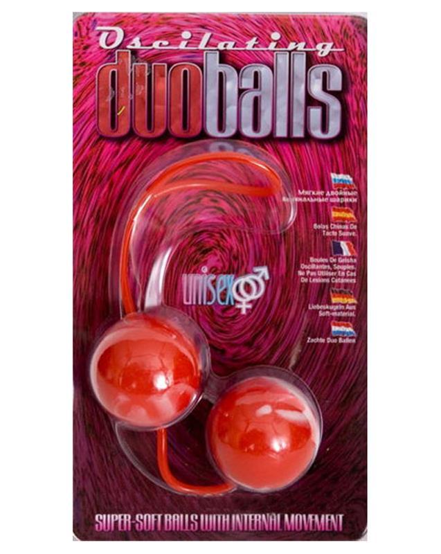 Красные мягкие вагинальные шарики «Oscilating DuoBalls» (3,5 см)