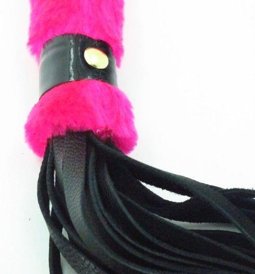 Нежная плеть с розовым мехом BDSM Light - 43 см.