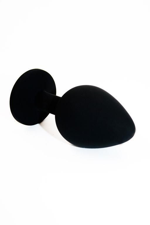 Чёрная силиконовая анальная пробка с прозрачным кристаллом - 8,3 см.