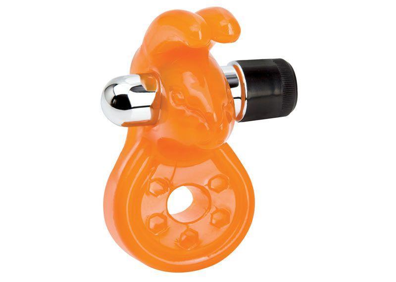 Оранжевое эрекционное кольцо с вибрацией и стимулятором клитора Sex Please! Wiggily Vibrating Cock Ring
