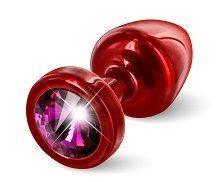 Красная пробка с малиновым кристаллом ANNI round Red T1 Fuschia - 6 см.