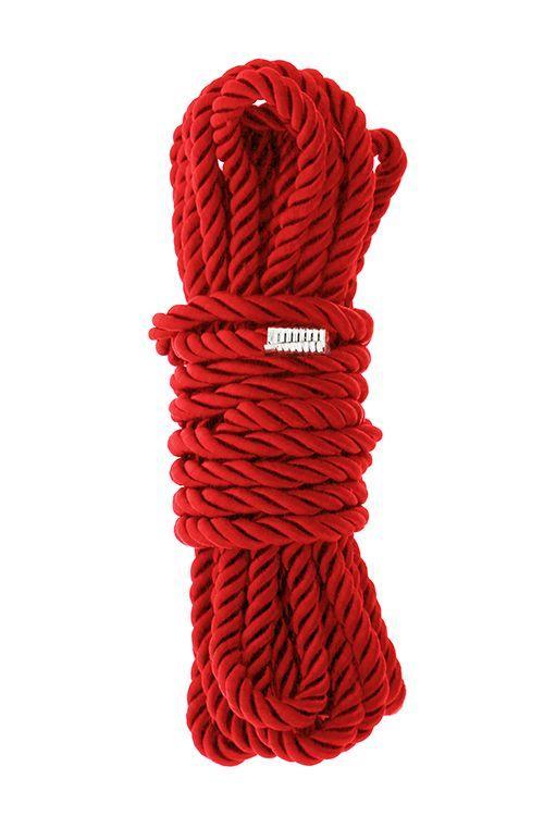 Красная веревка для шибари DELUXE BONDAGE ROPE - 5 м.