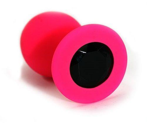 Розовая силиконовая анальная пробка с черным кристаллом - 7 см.