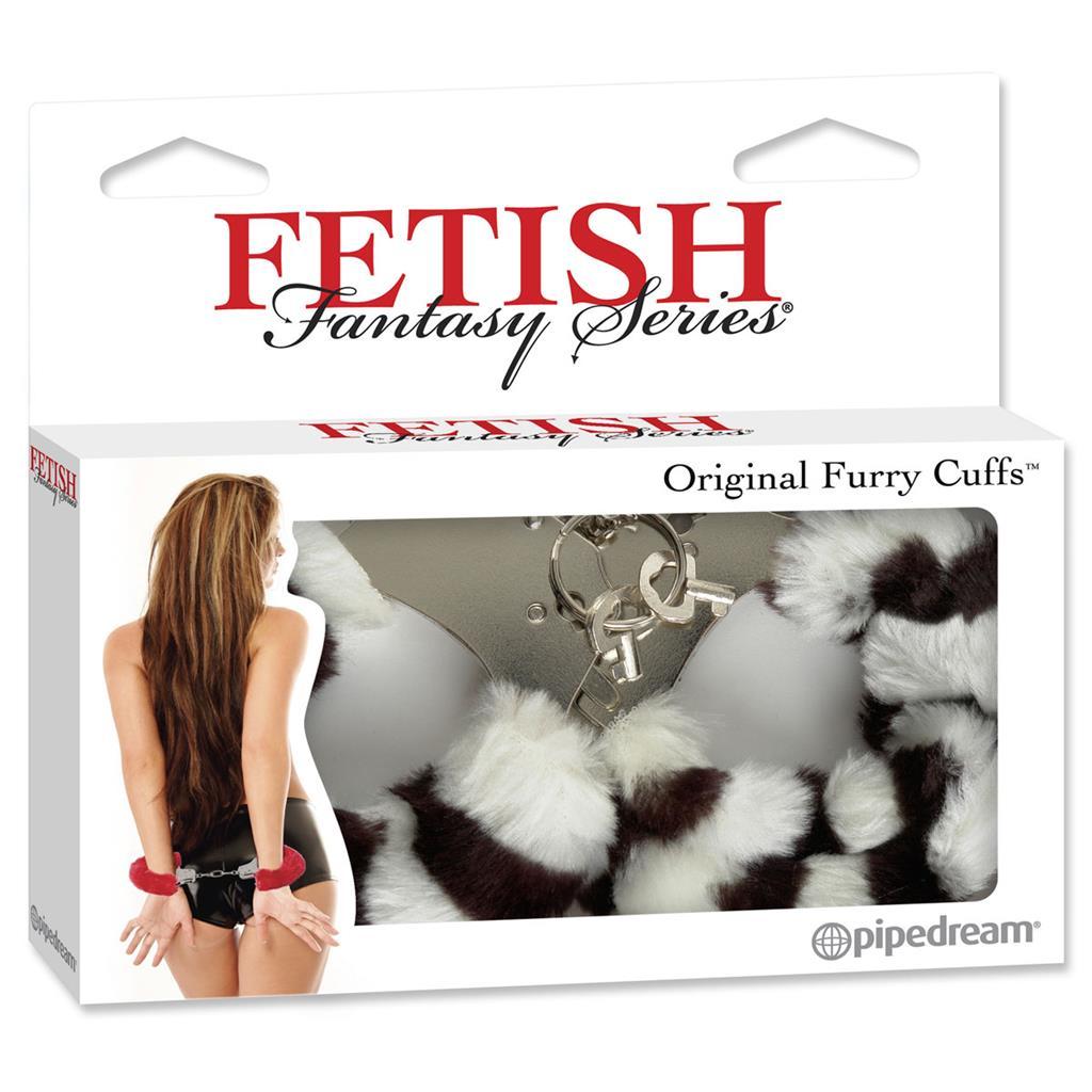 Металлические наручники Furry Love Cuffs с мехом - зебра