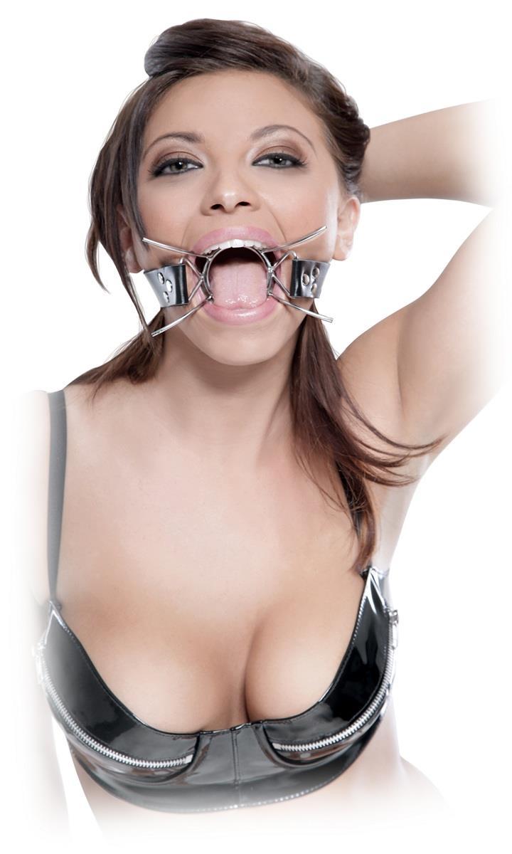 Металлический расширитель для рта на кожанном ремешке Spider Gag