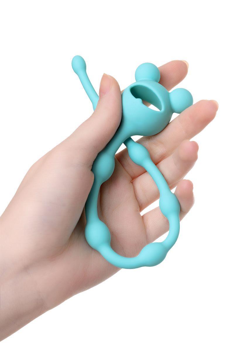 Мятная силиконовая анальная цепочка Froggy (27,4 см)