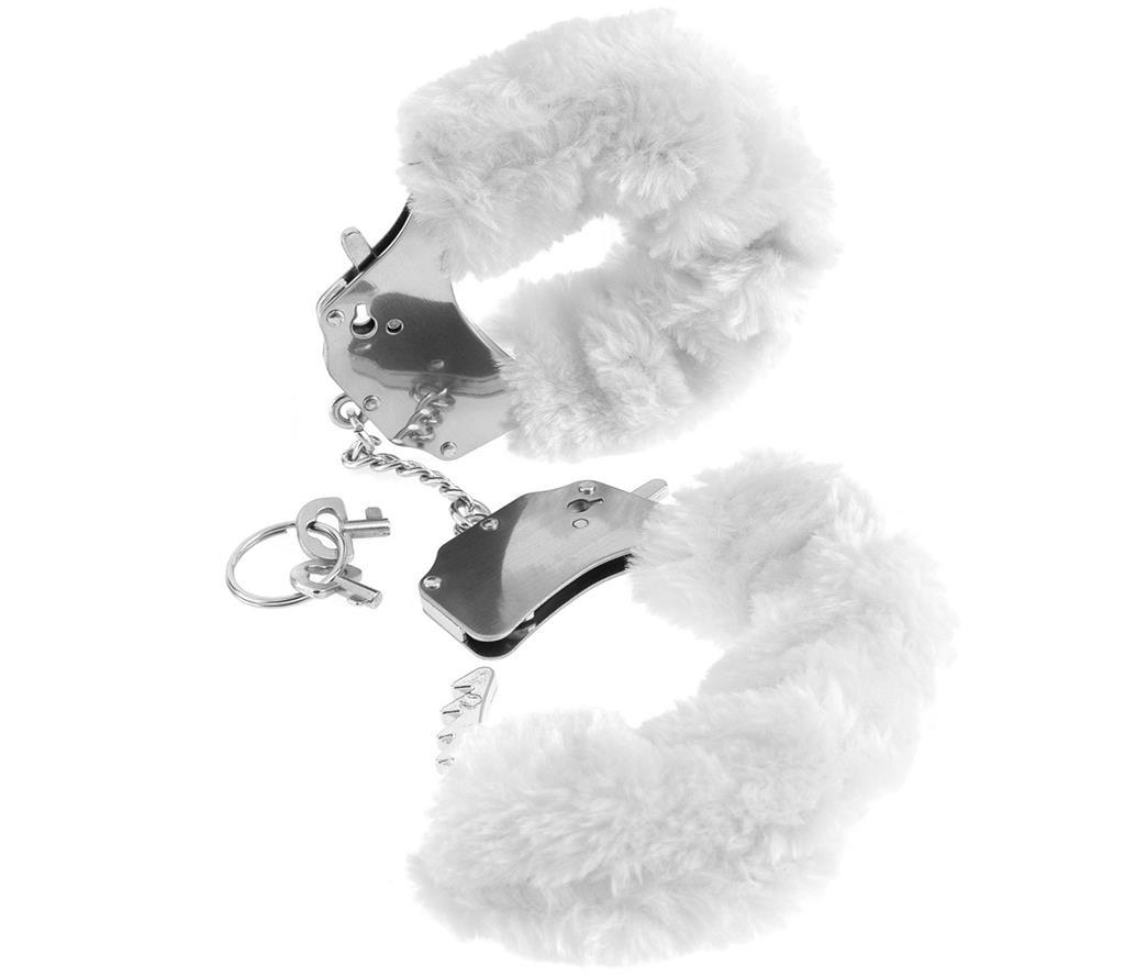 Металлические наручники «Original Furry Cuffs» с белым мехом