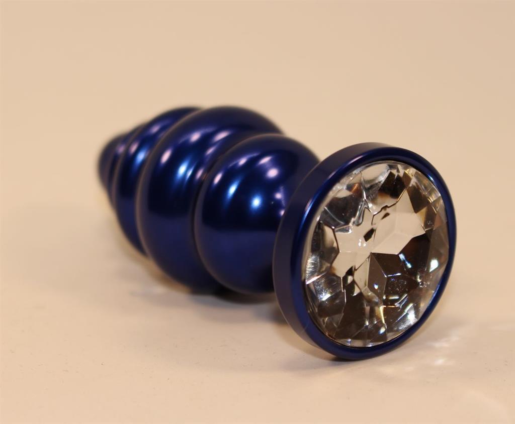 Синяя рифлёная пробка с прозрачным кристаллом (7,3 см)