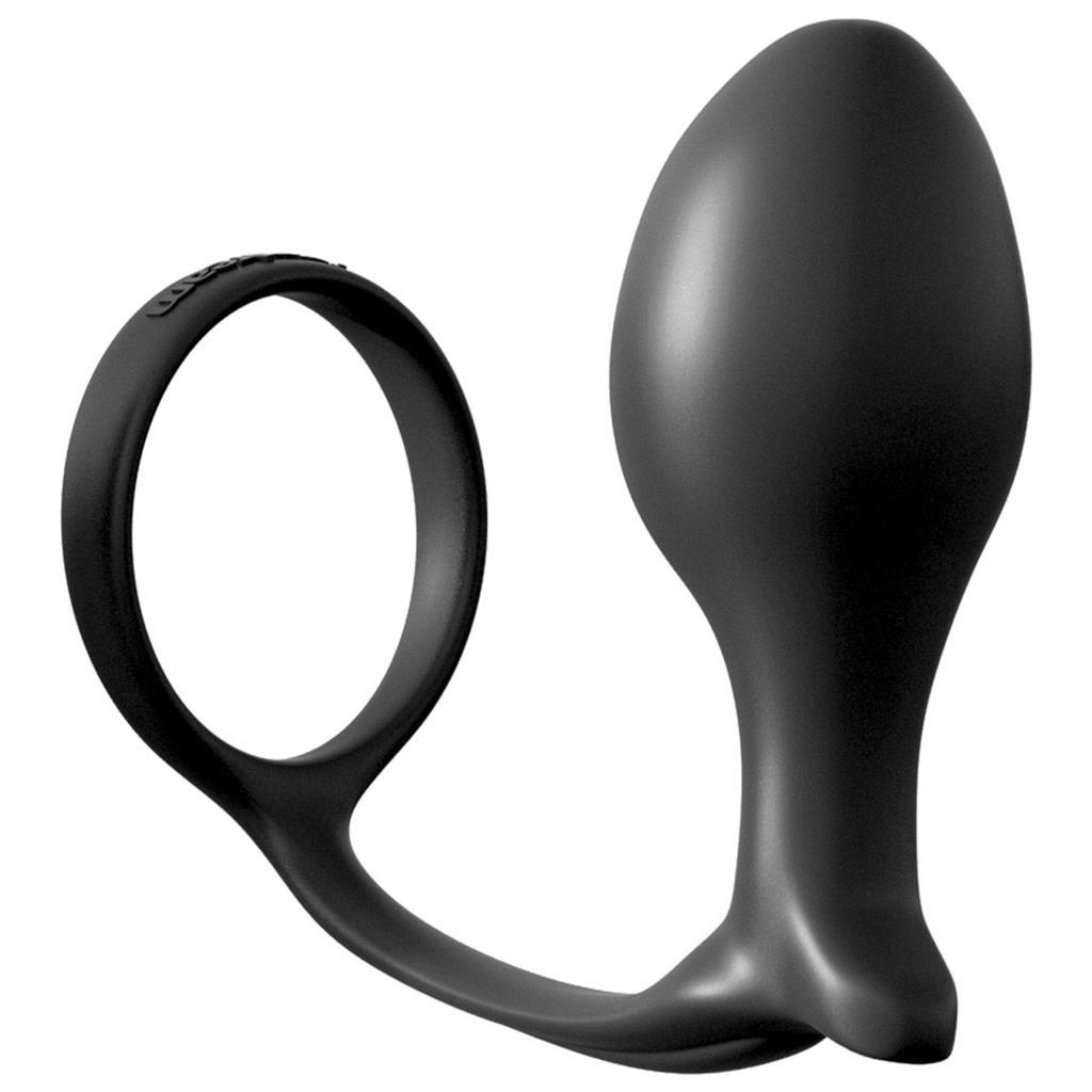 Анальная пробка Ass-Gasm Cockring Advanced Plug с эрекционным кольцом