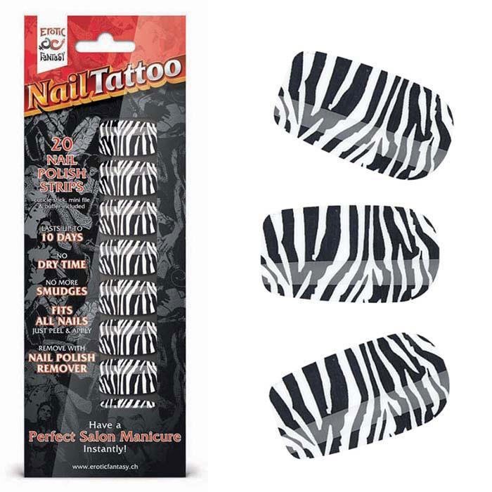 Набор лаковых полосок для ногтей Зебра Nail Foil