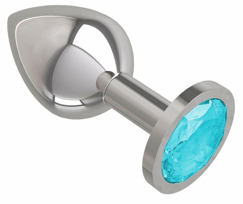 Серебристая анальная пробка среднего размера с голубым кристаллом (8,5 см)