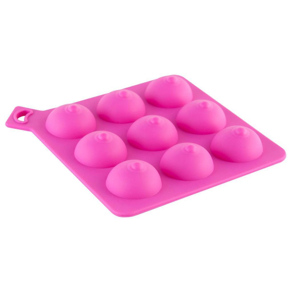 Розовая формочка для льда в виде женской груди