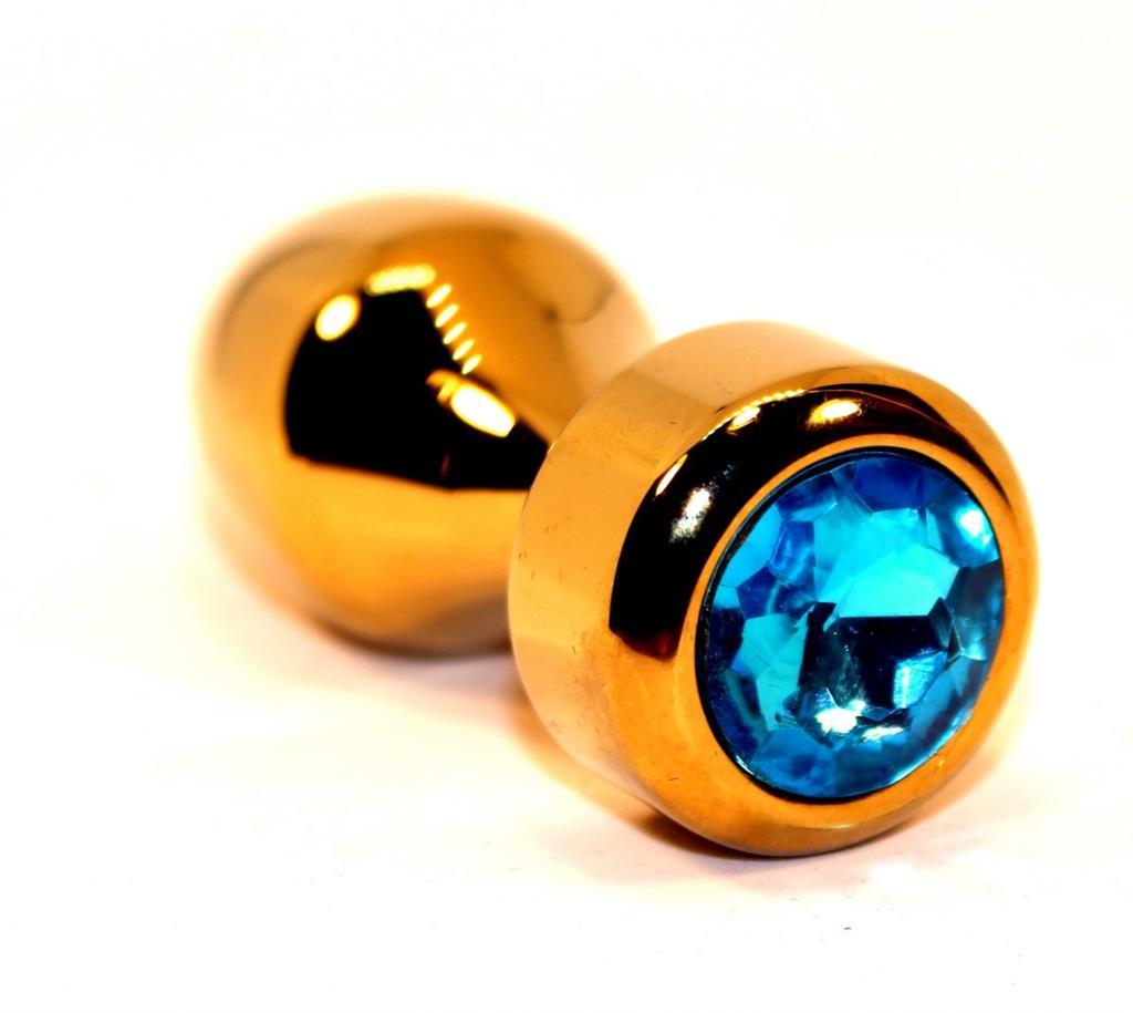 Золотистая анальная пробка с голубым кристаллом (7,8 см)